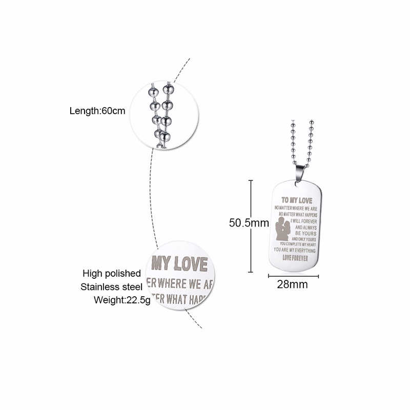 Do mojej miłości ze stali nierdzewnej nieśmiertelnik naszyjnik prezenty dla żony mąż miłośnicy pary biżuteria