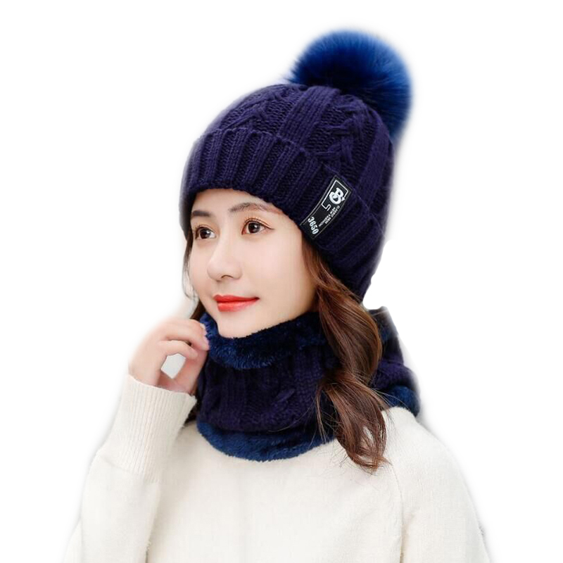 HANGYUNXUANHAONew Winter Hat Scarf Set For Ladies Girls Fashion Cotton Warm Pom Poms Hat Scarf Letter Cute Women Hat Scarf Set in Women 39 s Skullies amp Beanies from Apparel Accessories