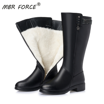 MBR FORCE Wool Snow Boots Women Fur Warm Shoes Plush mid calf Boots New Fashion Zipper Warm Genuine Leather Women Winter Boots asumer new arrive youth fashion height increasing mid calf boots for women high quality pu soft leather winter warm snow boots