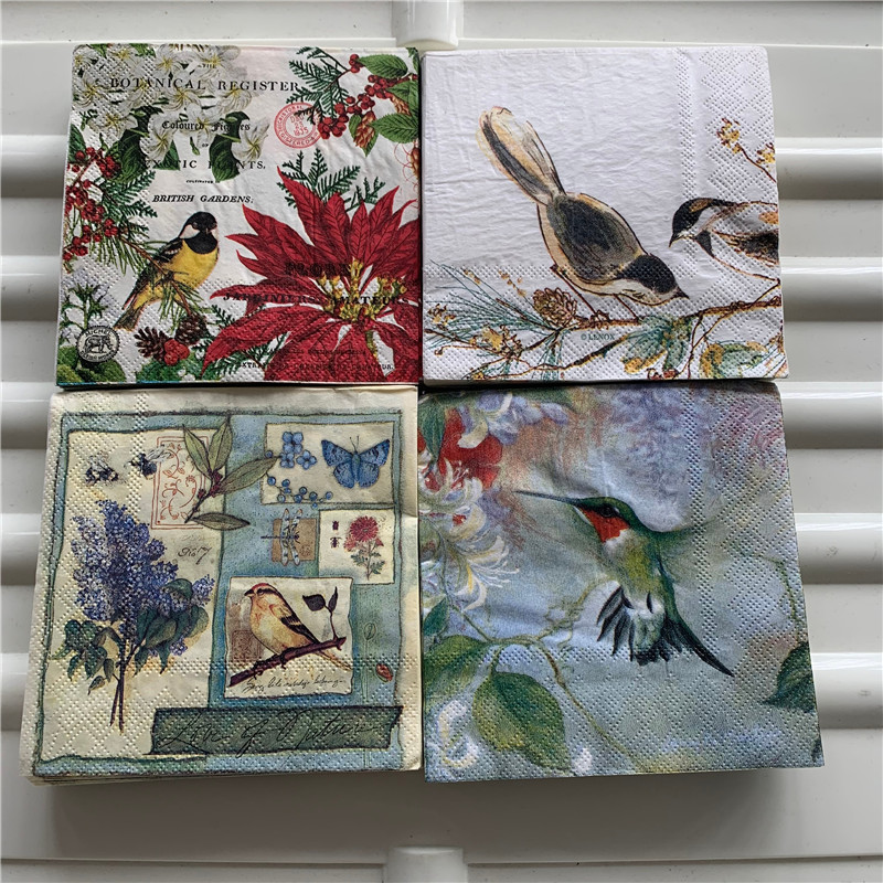 25cm Christmas Vintage Napkin Paper Elegant Tissue Flower Bird Nut Decoupage Wedding Birthday Party Decor Beautiful Serviettes