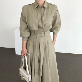 New Spring Autumn Women Elegant Shirt Dress Turn Down Collar Long Sleeve With Belt Office Lady Dresses Vestidos women bandage elegant shirt dress new v neck long sleeve office lady fashion tide spring autumn dresses