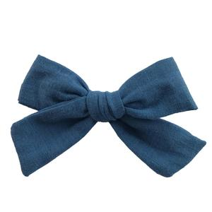 Image 3 - 24 pcs/lot, 4 inches Hand Tied Cotton Linen Hair Bow Clips, Baby Girls Fabric Bow nylon Headbands, Baby shower gift