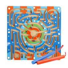 Wooden Magnetic bead ball pen Maze Puzzle Magnetic Board ring track Game Educational Toys for Toddlers Kid(China)
