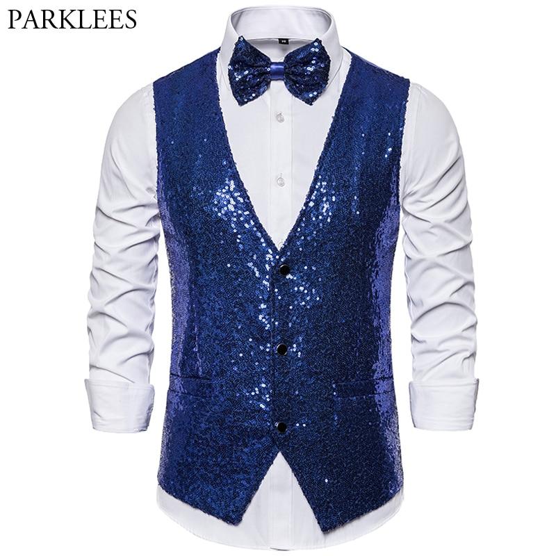 Royal Blue Vest Men Shiny Sequins Vests&Bowtie Mens Suit Vest Glitter Waistcoat Men Wedding Party Nightclub Stage Suit Vest XXL