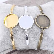 10 pçs ajuste 20mm cabochão redondo pulseira em branco ouro prata chapeado bronze metal manguito pulseiras base configurações diy bezels