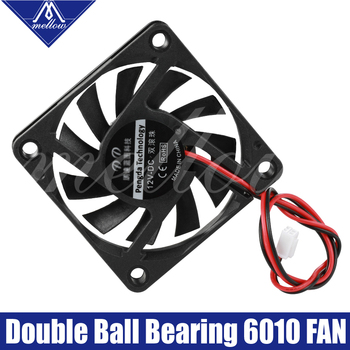 1pcs 12V/24V 6010 DC Fan 3D Printer Small Cooling Dual Ball Bear 60x60x10mm Cooling Extruder Hotend Special Small Fan 2 Wire 3d printer parts cyclops 2 in 1 out 2 colors hotend 0 4 1 75mm 12v 24v fan bowden with titan bulldog extruder multi color nozzle