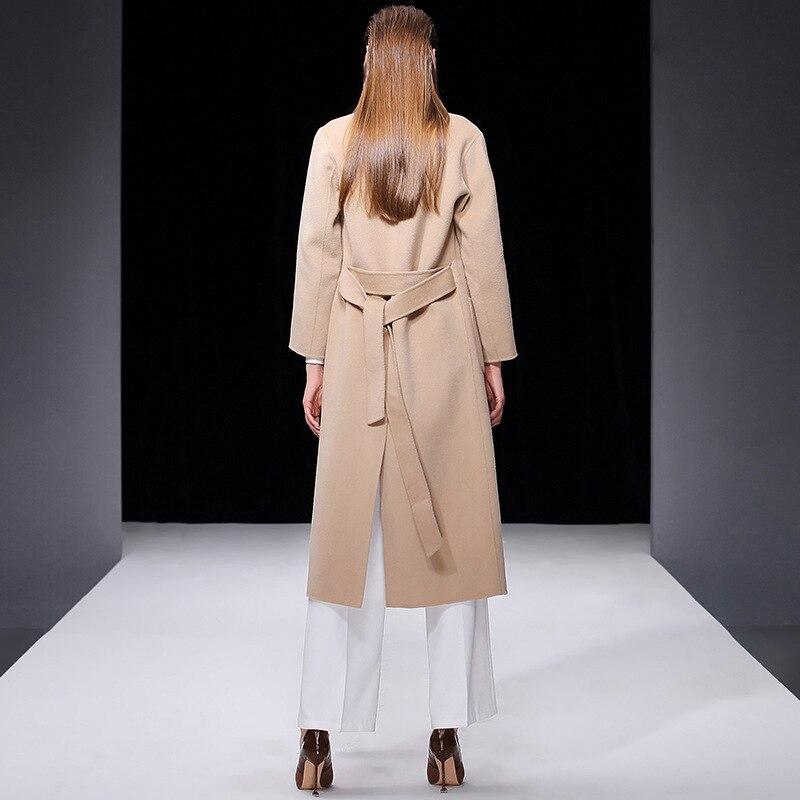 Abrigo de invierno para mujer rosa de doble cara de lana de Cachemira prendas de vestir 2019 Otoño de talla grande abrigos de moda para damas largo envío gratis - 4