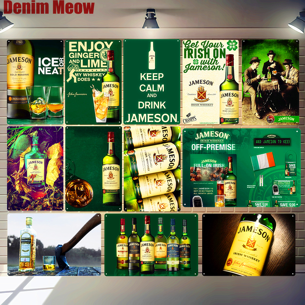 Irish Whiskey Metal Tin Sign Club Pub Bar Casino Decorative Plate Ice Cold Beer Poster Wall Art Painting Vintage Home Decor N285