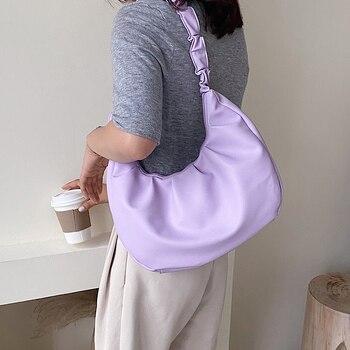 Folds Design PU Leather Shoulder For Women 2020 Summer Luxury Small Handbags Female Travel Hand Bag Purple Half Moon Bag