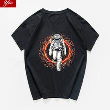 Astronauta nadchodzi śmieszne t shirt mężczyźni hip hop Hipster mężczyźni koszulka top na co dzień lato luźna koszulka męska homme Streetwear harajuku tanie tanio Krótki O-neck Topy Tees regular Suknem COTTON Drukuj