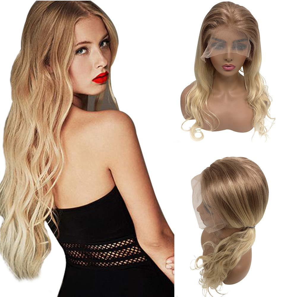 Long Natural Wavy Blonde Wigs Pre Plucked 13x4 Lace Front Wig Balayage Human Hair Golden Brown To Blonde Highlights For Women