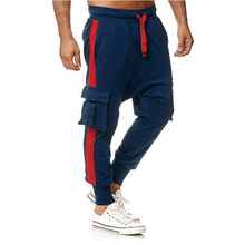 Men's autumn trousers Thick and warm trousers casual cotton multi-pocket men's trousers, plus size, fashionable loose loose spor