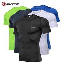 Outto masculino correndo t-shirts compressão camada base de secagem rápida manga curta treinamento ciclismo ginásio fitness esportes sob-wear topo