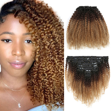Ombre 1B 4 27 4B 4C Mongolian Afro Kinky Curly Clip In Human Hair Extention Remy 8 Pcs Set Clips Ins For African Americans Women cheap Dreaming Hair CN(Origin) 8pcs set Remy Hair Darker Color Only summer Brazilian Hair