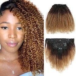 Омбре 1B 4 27 4B 4C монгольский афро кудрявый зажим для наращивания человеческих волос Remy 8 шт./компл. клипсы Ins для афроамериканцев женщин