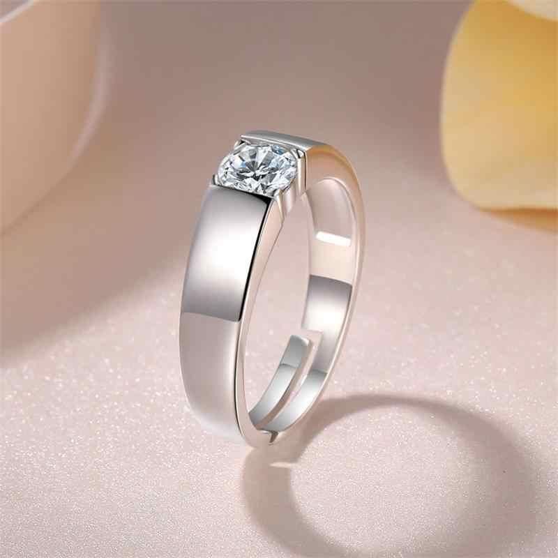 YANHUI 証明書男性 925 シルバーアジャスタブルリングシンプルなソリティア 1ct ビックジルコニアダイヤモンドの婚約指輪のため