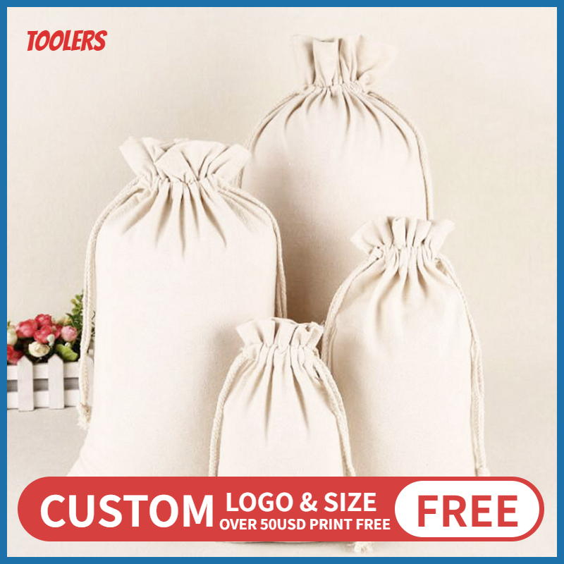 50PCS Fungus Lace Canvas Drawstring Bag 100 Cotton Eco Friendly Durable Storage Packaging Bags For Rice Tea Cocoa Custom Logo
