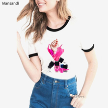 ropa mujer 2019 Luxury pink nail polish tshirt women vogue watercolor t shirt femme summer tops female t-shirt plus size camisa