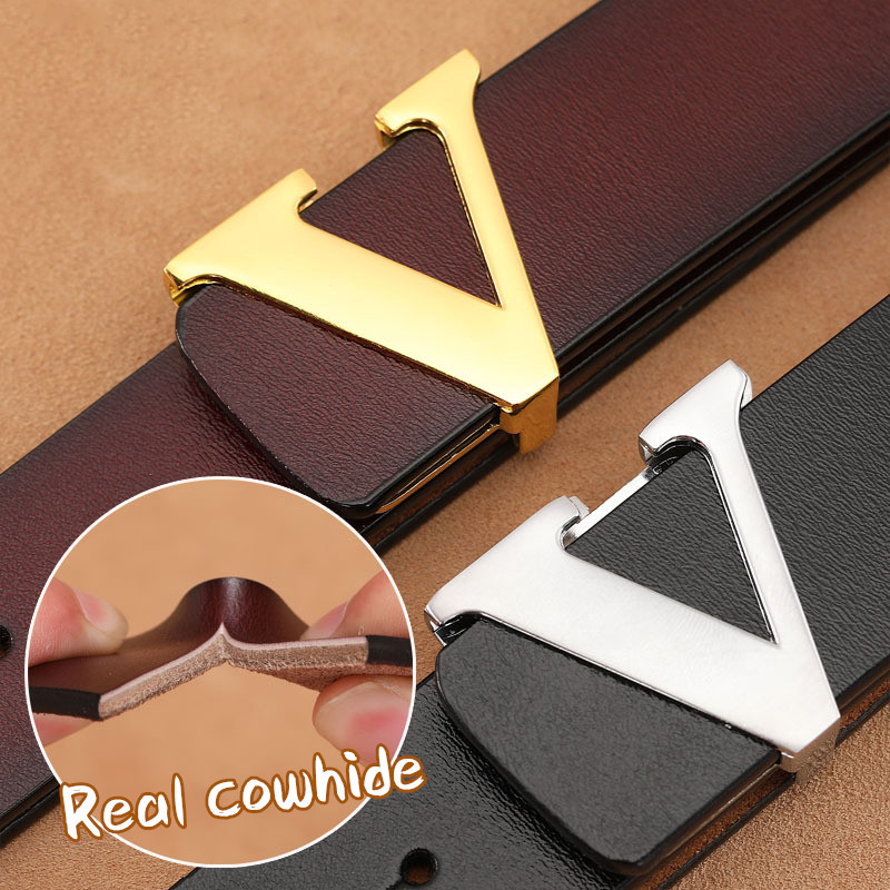 Men Retro Waist Strap Genuine Leather Alloy V Buckle Belt For Men Ceinture Femme High Quality Designer Famous Brand Luxury Belts