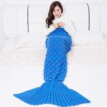Knitted Mermaid Tail Blanket Handmade Crochet Mermaid Blanket Super Soft All Seasons Sleeping Knitted Blankets 1PCS super soft color block knitted mermaid tail blanket
