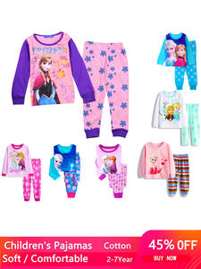 Pajamas Suit Girls Toddler Elsa Mickey Minnie Kids Anna Long-Sleeve Fall Spring Outfits