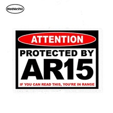 HotMeiNi-pegatina de advertencia para arma de Rifle, pegatina protectora de estilo de coche AR15, AR 15, 13cm x 9,75 cm, depósito seguro, 2a, par de pegatinas para coche