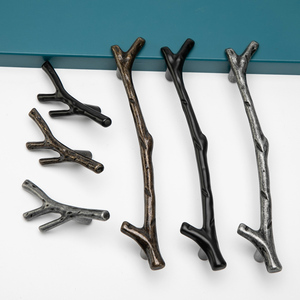 Image 2 - AOBT poignées de branche darbre Antique, boutons pour placard, argent 3D nouveauté créative, poignées de meubles à la mode