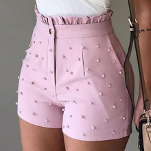 Summer Women Shorts Beaded Ruffled High-Waist Solid-Color New-Fashion Button