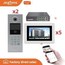 7 شاشة تعمل باللمس بناء كبير واي فاي IP فيديو باب الهاتف الداخلي POE التبديل 2to5 نظام التحكم في الوصول دعم كلمة السر/بطاقة IC