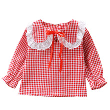 baby plaid shirt  girl blouse toddler red girls Fashion Cotton Girls Blouse 2019 Autumn Clothes Children Clothing