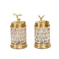 Licht luxus ornamente wohnzimmer kaffee tisch glas kristall kupfer hirsch candy jar mit abdeckung obst platte Europäischen kreative dezember
