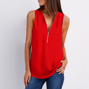 Casual Summer Top Shirt Zipper Loose 5