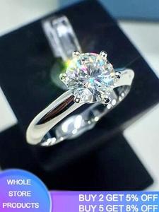 Продажа в убыток! Роскошное классическое кольцо с бриллиантом в 1 карат с сертификатом, 18 дюймов, обручальные кольца из белого золота с штамп...