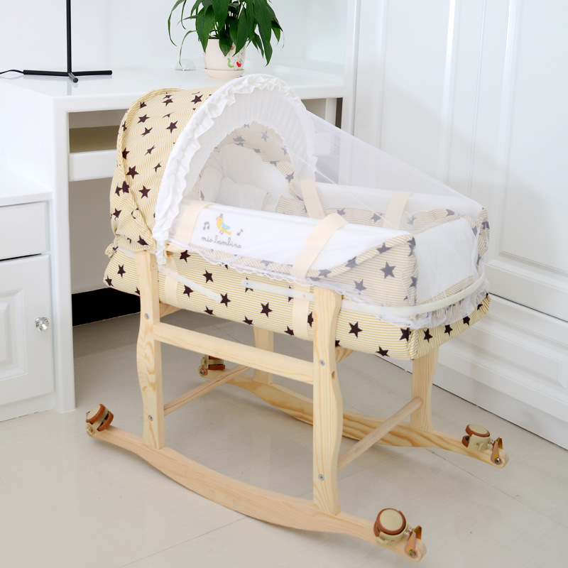 Portable Baby Crib Infant Cardle  Bed Sleeping Basket Bed With Mosquito Net Wooden Frame Wheel Paly Game Bed
