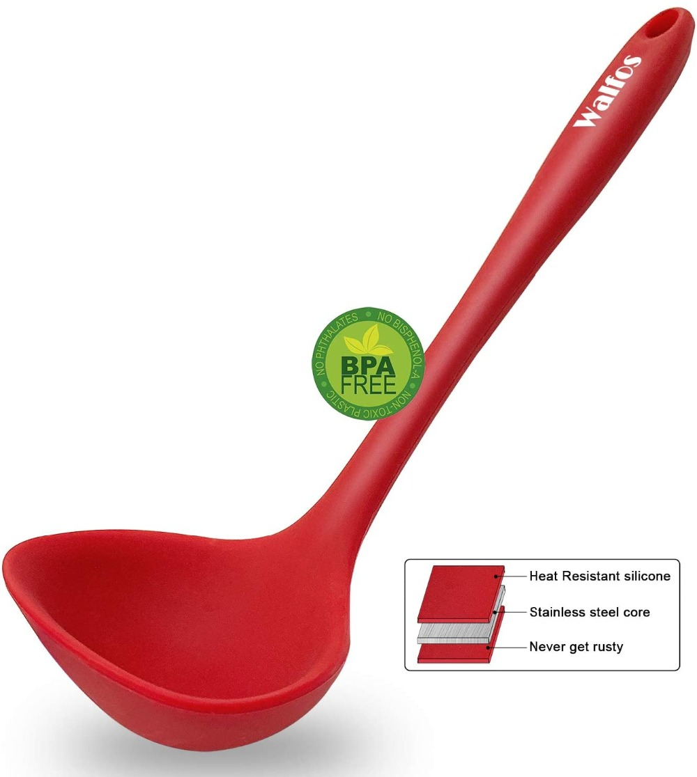 WALFOS Non Stick Resistant  Heat FDA Spoon Silicone Cooking Ladle Kitchen Soup Ladle