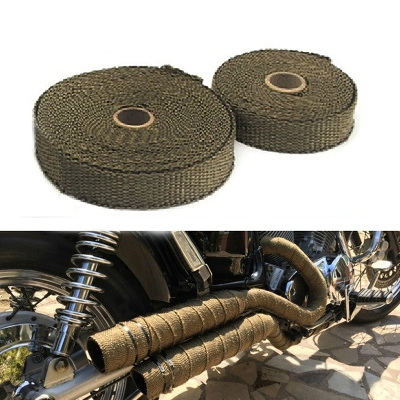 10M Car Motorcycle Exhaust Wrap Pipe Header Heat Wrap Turbo Mainfold Heat Exhaust Thermal Wrap Tape Stainless Steel Ties