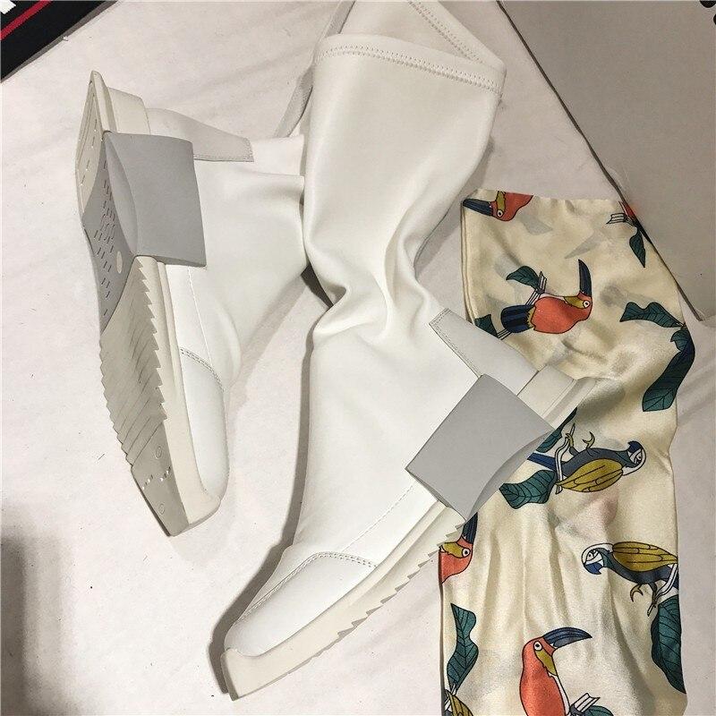 Rua botas brancas mulheres estilo punk plataforma de couro genuíno elástico meia tornozelo botas amantes altura crescente alto topo tênis - 4