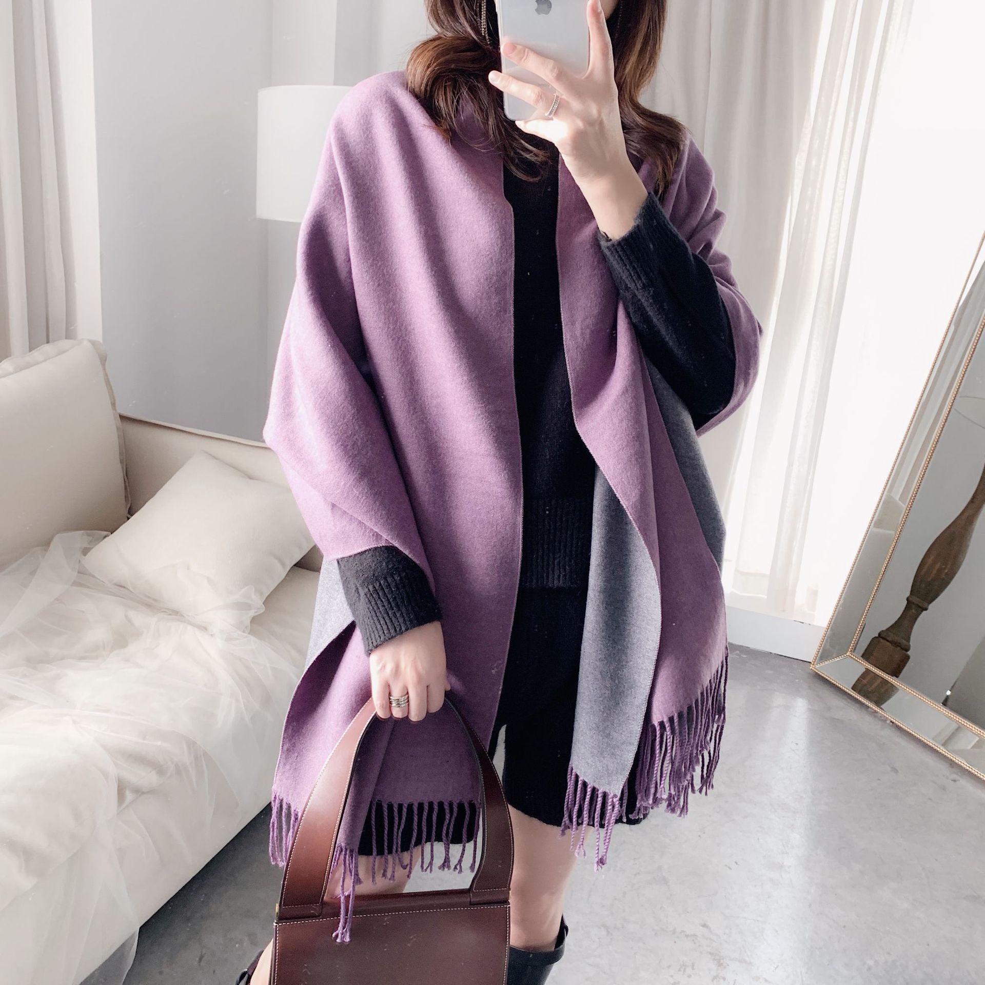 2020 Luxury Pure Cashmere Scarf For Women Solid Warm Pashmina Scarves Tassel Double Sides Scarfs Shawls Wraps Lady Bandana