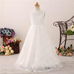 Свадебные Платья с цветочным узором для девочек; детские кружевные свадебные платья принцессы; Детские пышные платья; длинное белое платье