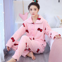 2PCS/Set Winter Women Pajamas Sets SleepWear Warm Flannel Long Sleeves Animal Pyjamas Thick Sleepwear 2019 Band