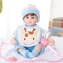 Julysong s canção 42cm bebê renascer macio algodão corpo reborn bonecas presentes de aniversário do bebê olhos azuis lifelike criança brinquedos educação precoce