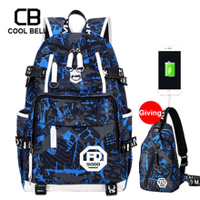2PCS/Set Bag Oxford Waterproof School Backpack Men For Teenager Boys Sport Backpack Male Travel Bags USB Charging Boys Schoolbag oxford waterproof army green backpack male usb charger school backpack for girls travel laptop backpack school bags for boys bag