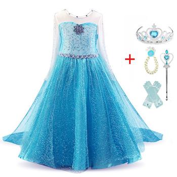 Księżniczka dziewczyny Elsa sukienka Cosplay sukienki śnieg kostiumy dla dzieci księżniczka sukienka Disfraz Carnaval Vestidor Robe Infantil tanie i dobre opinie Aini Babe POLIESTER Wiskoza Mesh CN (pochodzenie) Kostek O-neck REGULAR Pełne Nowość Dobrze pasuje do rozmiaru wybierz swój normalny rozmiar