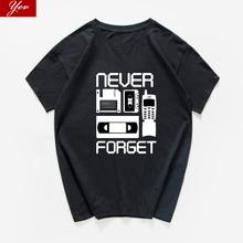 Nowość stara szkoła nigdy nie zapomnij śmieszne tshirt mężczyźni lato grafika hip hop hipsterska bawełniana męska koszulka homme Streetwear harajuku tanie tanio Krótki O-neck Topy Tees regular Suknem COTTON Na co dzień Drukuj