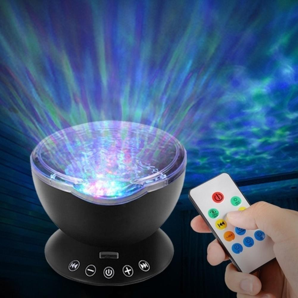 Rotating LED Ocean Wave Projector Lamp Night Light Remote Control Music Player