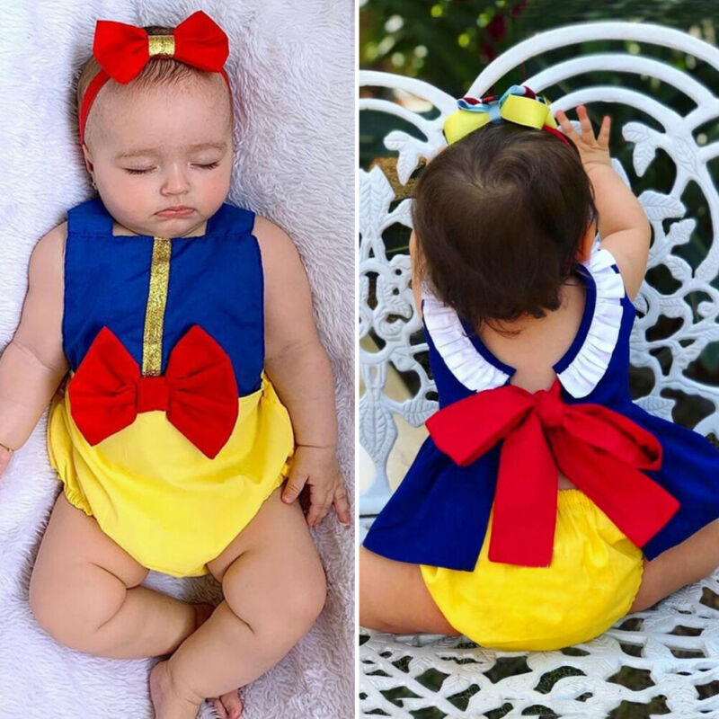 Snow White Baby Girl Clothes Bowknot Romper Tops Dress Shorts Outfit Summer