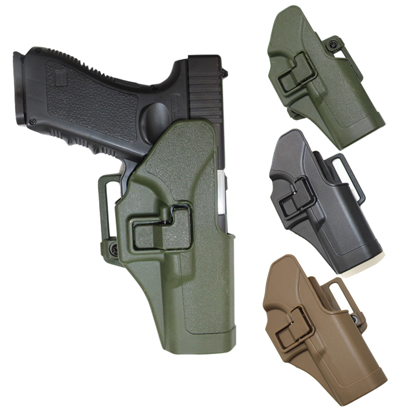 Tactical CQC Compact Handgun Belt Holster Quick Draw Right Hand Gun Holster W/ Paddle Waist Belt For GLock  17 18 19 23 32