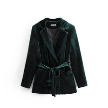 Autumn new solid color womens jacket 2019 autumn double pocket velvet belt slim suit Female blazer