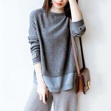 Venda quente falso dois suéter de caxemira feminino em torno do pescoço pulôver outono e inverno 2019 nova manga longa coreano solto lã camisola