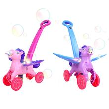 2019 NEW Electronic Bubble Mower Walker Bubble Blower Machine with Music Outdoor Game Push Toys for Children Kids Outdoor Play